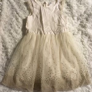 Carters Cream Dress with Gold Dots